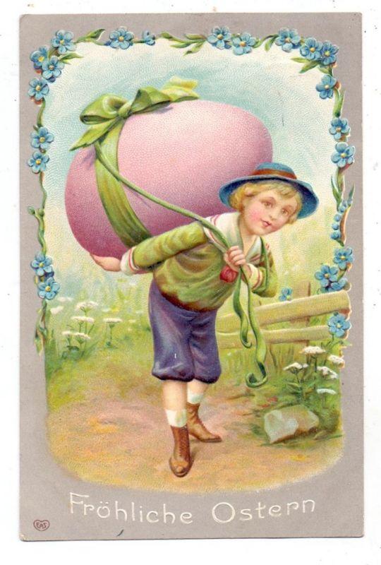 OSTERN - Junge mit Ei, Präge-Karte / embossed / Relief