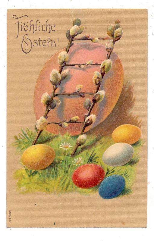 OSTERN - Eier und Weidenkätzchen, Präge-Karte / embossed / relief