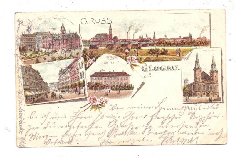 NIEDER - SCHLESIEN - GLOGAU / GLOGOW, Lithographie 1897, 5 Ansichten, kl. Eckfehler