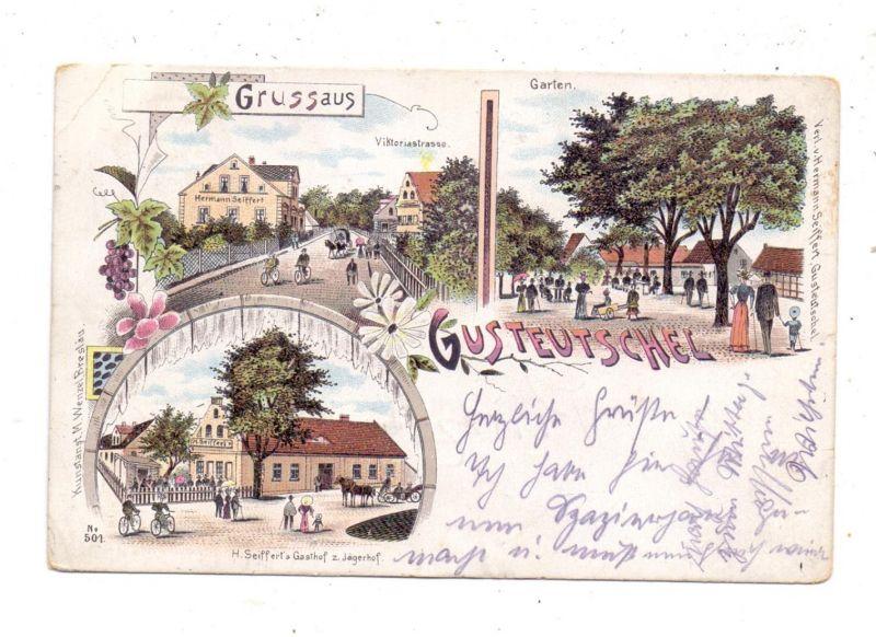 NIEDER - SCHLESIEN - GUSTEUTSCHEL / HAHNENFELD - JERZMANOVA, Krs.Glogau, Litho, Gasthof, Viktoriastrasse..