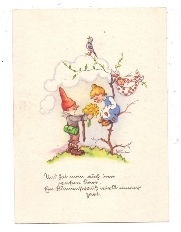 KINDER - Mädchen und Zwerg, Künstler-Karte Liesel Lauterkorn 0