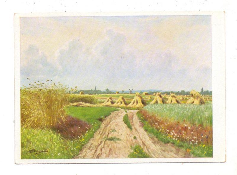 LANDWIRTSCHAFT - Heuernte, Künstler-Karte Ernst Frommhold