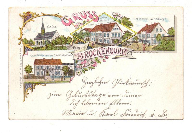 NIEDER - SCHLESIEN - BROCKENDORF / BROCHOCIN, Lithographie 1899, Bauunternehmer, Gasthaus, Specerei, Kirche