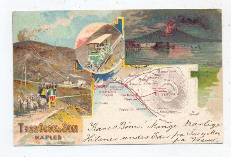 I 80100 NAPOLI / Neapel, Thomas Cook & Son, 1904, Vesuv, Funiculare