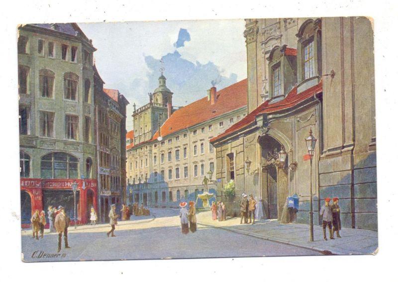 NIEDER - SCHLESIEN - BRESLAU / WROCLAW, Universität, Blick vom Fechtsaal, Künstler-Karte U.Denner 0