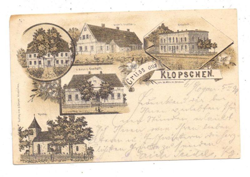 NIEDER - SCHLESIEN - KLOPSCHEN / KLOBUCZYN, Lithographie 1899, Bahnhof, Gasthaus, Geschäft...