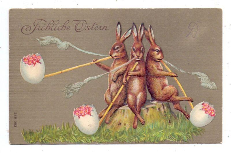 OSTERN / Easter / Paques - Eierrauchende Hasen, Präge-Karte / Embossed / Relief