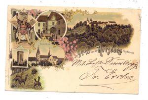 0-3603 DINGELSTEDT - HUY, Lithographie 1896, Gruss von der Huysburg, 6 Ansichten