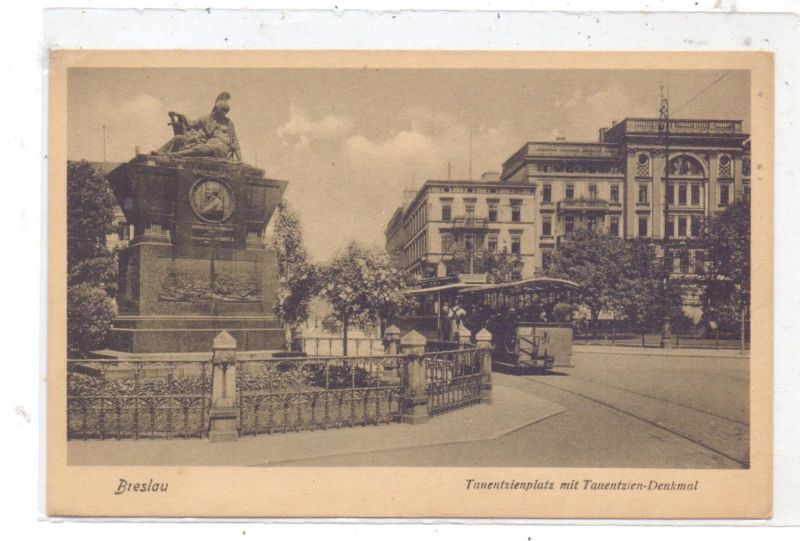 NIEDER - SCHLESIEN - BRESLAU / WROCLAW, Tauentzienplatz, Denkmal, Strassenbahn / Tram  Linie 2 ODERTOR