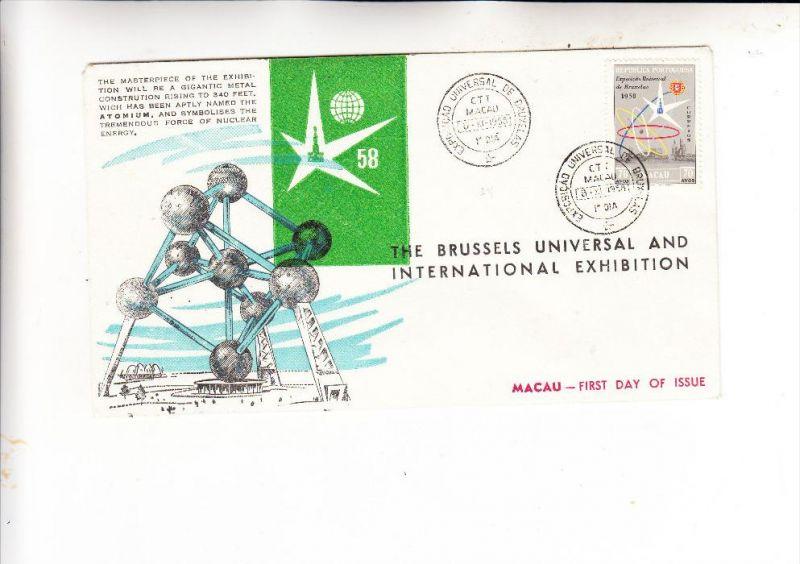MACAU / MACAO, 1958, Michel 414, Expo Brussel 1958, FDC, no. 458 von 600