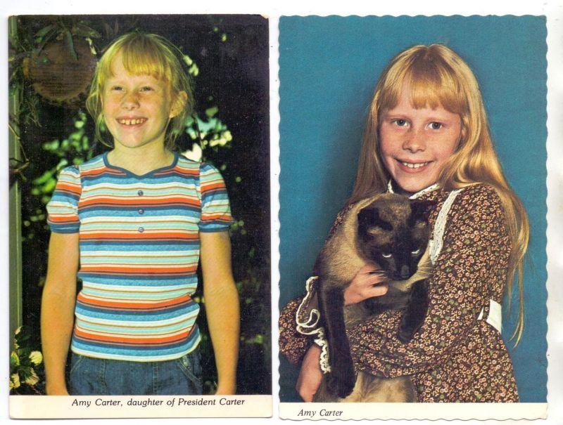 POLITIK - AMY CARTER, daughter of President Jimmy Carter, 2 postcards