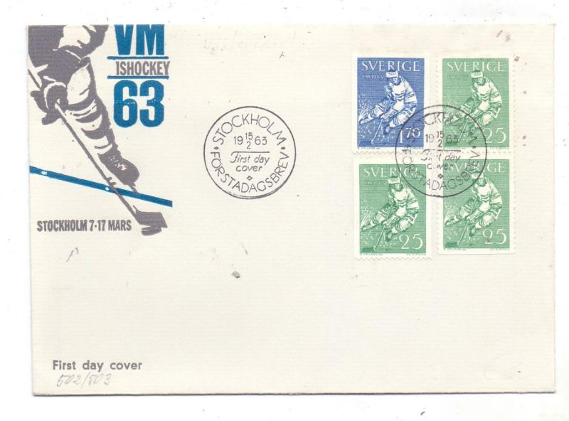 SPORT - EISHOCKEY, WM / VM 1963 Stockholm, FDC