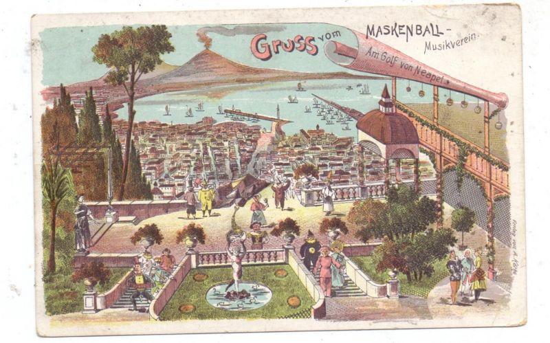 I 80100 NAPOLI / Neapel, Litho, Gruss vom Maskenball