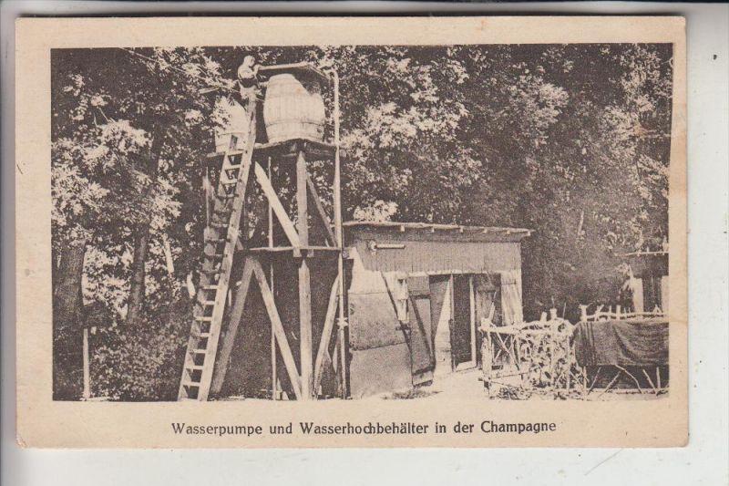 MILITÄR - 1.Weltkrieg, Wasserpumpe und Wasserhochbehälter, Champagne, 1914, deutsche Feldpost, Inf. Regt.238/7 nach Köln