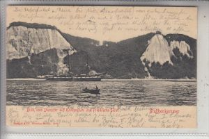 0-2355 SASSNITZ - STUBBENKAMMER / Rügen, Blick vom Dampfer auf Königsstuhl und Friedrichs-.Sicht, 1903