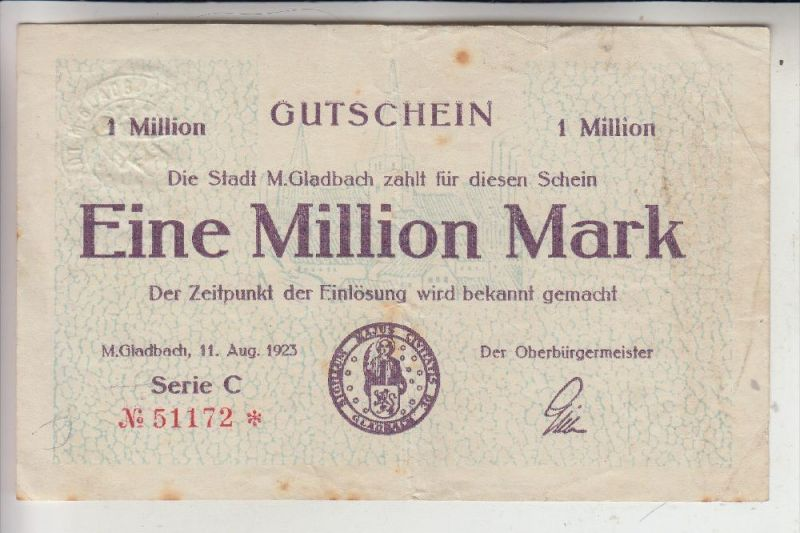 NOTGELD - MÖNCHENGLADBACH, 11.August 1923, 1 Million