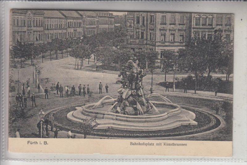 8510 FÜRTH, Bahnhofsplatz mit Kunstbrunnen