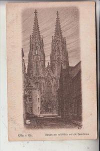 5000 KÖLN, Burgmauer, Blick auf Kölner Dom Westportal, Künstler-Karte