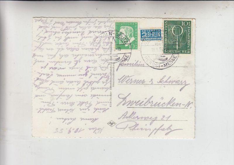 BUND, 1955, Michel 209 & 217 Mischfrankatur auf AK v. Köln nach Zweibrücken, 18.09.1955