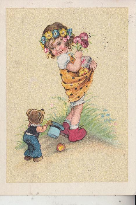 KINDER, Blumenmädchen mit kleinem Bär, 195..