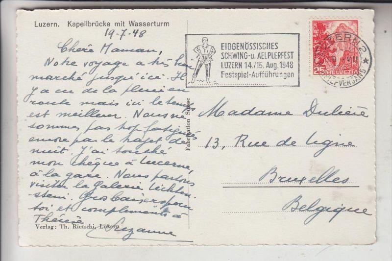 SCHWEIZ, 1949, Zumstein 288, Michel 503, Einzelfrankatur Luzern - Brüssel 1948
