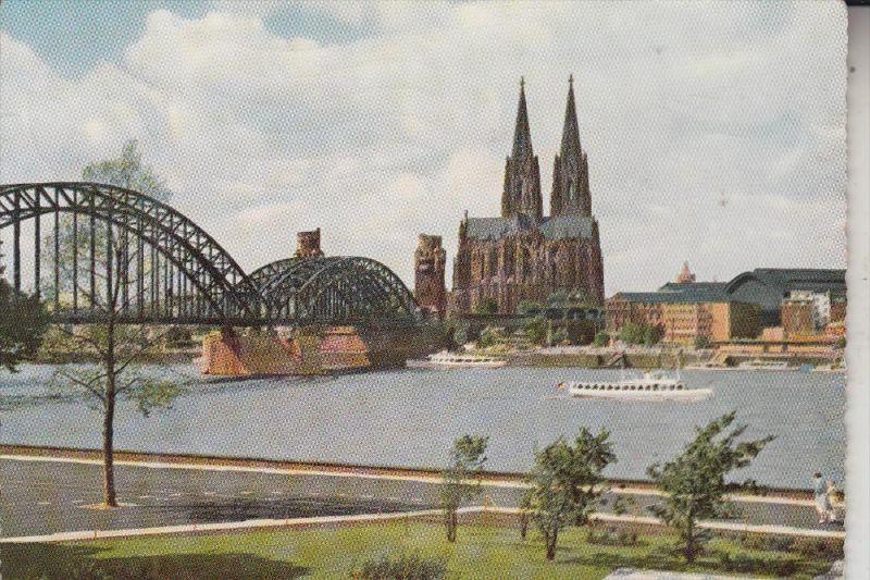 5000 KÖLN - DEUTZ, Blick v. Rheinpark auf Hohenzollernbrücke und Kölner Dom,  1957