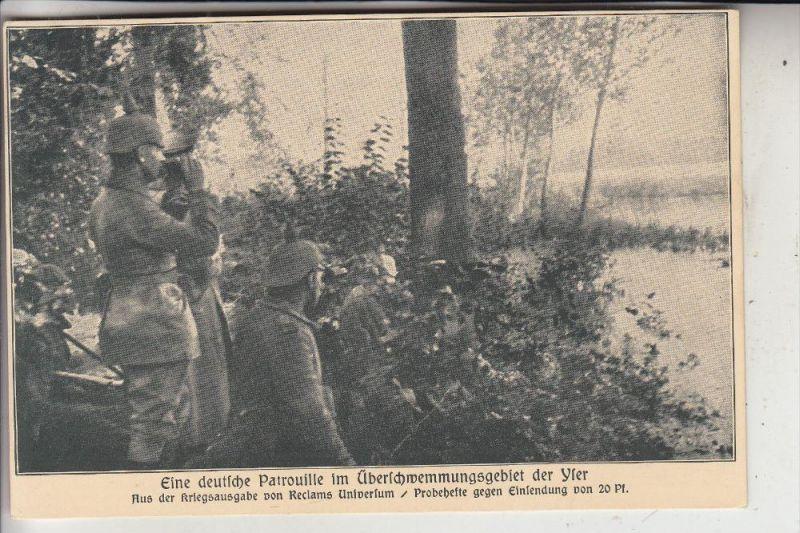MILITÄR - 1.Weltkrieg, Belgien, Deutsche Patrouillie an der Yser