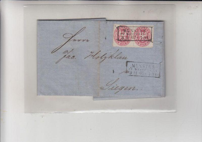 PREUSSEN - 1867, Michel 16a Mehrfachfrankatur, von Münster nach Siegen, Privatbrief