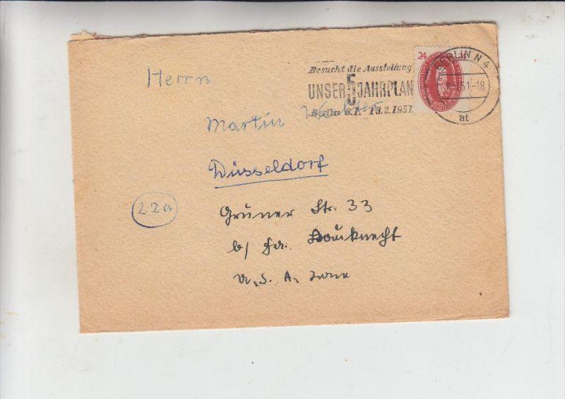DDR, Michel 269, Leibniz, Einzelfrankatur, 8.1.51 von Berlin nach Düsseldorf