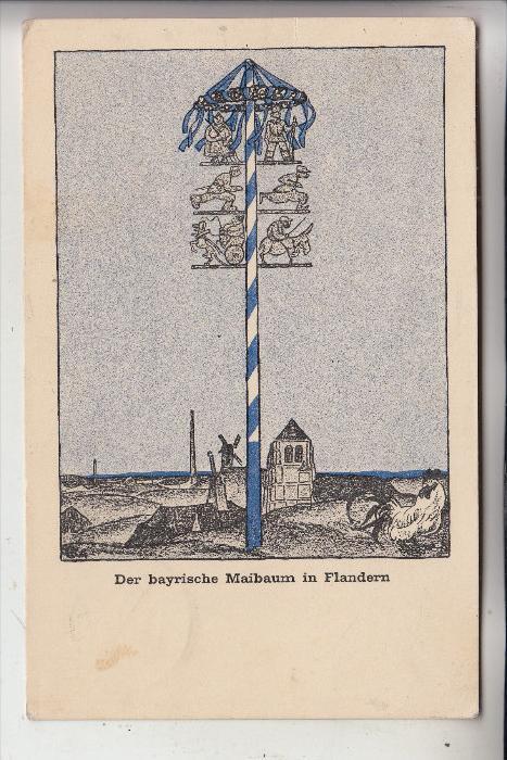 MILITÄR - 1.Weltkrieg, FLANDERN, Der bayerische Maibaum, Deutsche Feldpost, 1916, Kampfstaffel 4