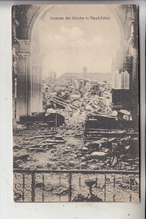 F 51800 SERVON, Zerstörungen 1.Weltkrieg, Kirche, Deutsche Feldpost, 1916, Funker-Abt. 8