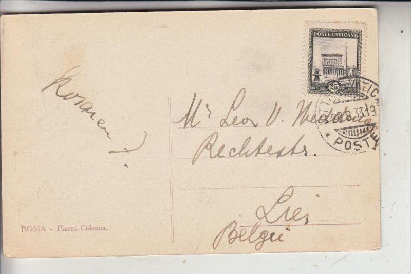 VATICAN - 1933, Michel 25, Einzelfrankatur nach Belgien