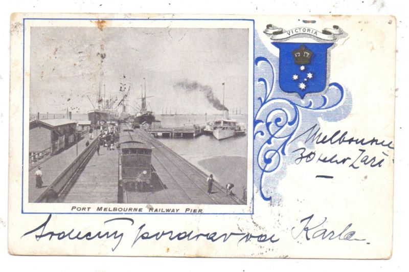 AUSTRALIA - VICTORIA - MELBOURNE, Port Melbourne Railway Pier, 1903, stamp missing