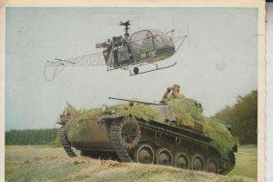 MILITÄR - PANZER / TANK / Chars, HS 30 & Helikopter, Bundeswehr, 1963, Druckstelle