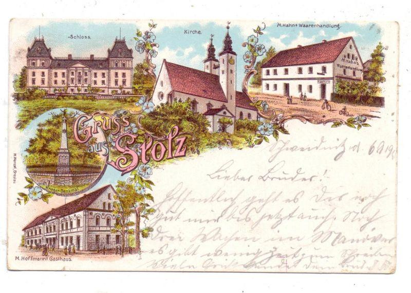 NIEDER - SCHLESIEN - FRANKENSTEIN-STOLZ / STOLEC, Lithographie, Gasthaus, Waarenhandlung, Schloss, Denkmal, Kirche