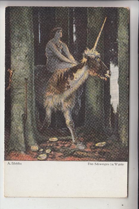 KÜNSTLER - ARTIST - ARNOLD BÖCKLIN, Das Schweigen im Walde, Einhorn / Unicorn
