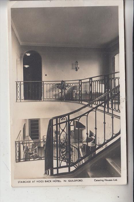 UK - ENGLAND - SURREY - TONGHAM, Hog's Back Hotel, Staircase, 1958