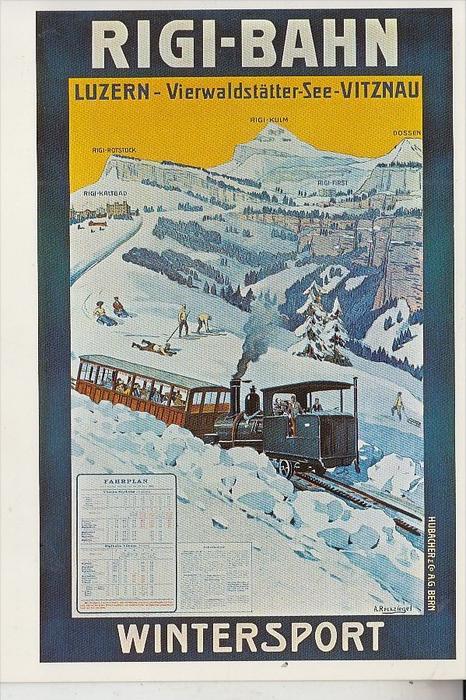 EISENBAHN - SCHWEIZ, Affiche cpm, Poster pc, Plakat AK, Rigi-Bahn