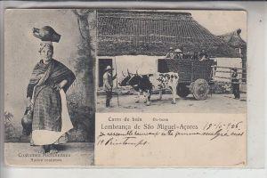P 9504 SAO MIGUEL, Carro de bois Ox-Team, Trachten / Costums, 1906