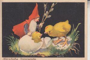 ZWERGE / Gnom / Dwarf / Nain / Nano / Dwerg / Enano - Ostern, Künstler-Karte E.Wernitz, 1949