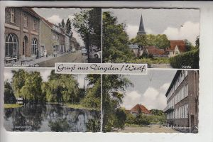 4236 HAMMINKELN - DINGDEN, Gruss aus, Krankenhaus - Mühlenteich - Kirche - Marienfelder Strasse, handcoloriert
