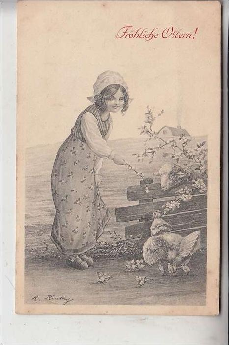 KÜNSTLER - ARTIST - ROBERT KRATKY, Fröhliche Ostern, Wiener Kunst, 1914