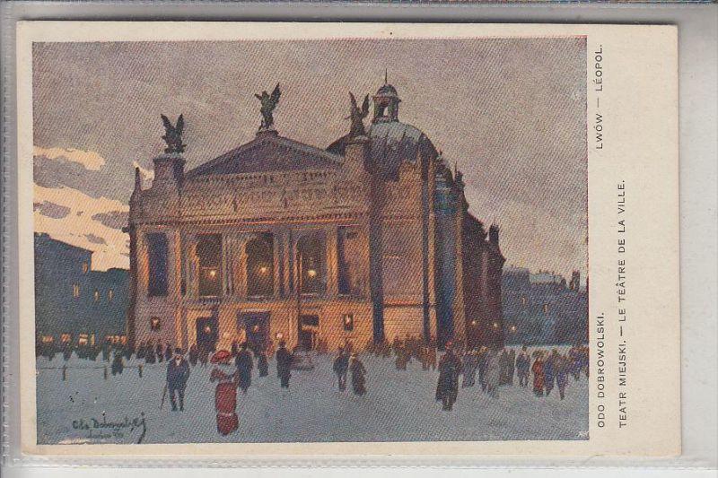 UA - 79000 LWIW / LEMBERG, Teatr Miejski, Artist-card Odo Dobrowolski
