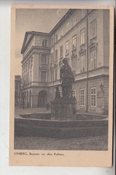UA - 79000 LWIW / LEMBERG, Brunnen vor dem Rathaus, 193...