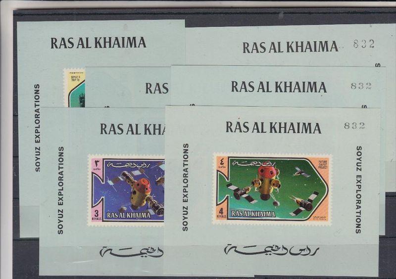 RAS AL KHAIMA, 1971, SOYUZ EXPLORATION, 6 mini sheets, mint, all # 832