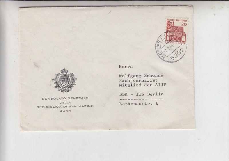 RSM - SAN MARINO, Brief des Generalkonsulats Bonn an den DDR-Fachjournalisten Wolfgang Schwade, AIJP Philatelie