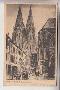 5000 KÖLN, An Sankt Andreas und Kölner Dom - Prozession, Künstler-Karte Hermann Kilian, 1907, Brfm. entfernt