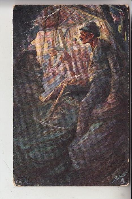 BERGBAU / Mining / Mijnbouw / Charbonage / Minerario - Künstler-Karte, 1919, Druckstelle