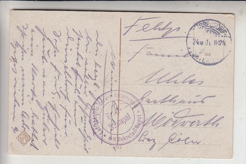 MILITÄR, 1.Weltkrieg, Feldpost, Zepelin, Luftschiffer-Ersatz-Abteilung mit Rekruten-Depot, Düsseldorf 1917