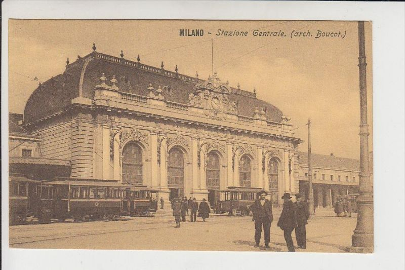 I 20100 MILANO / MAILAND, Stazione Centrale, Tram / Strassenbahn, 1909